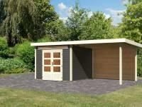 Karibu Woodfeeling Gartenhaus Kandern 6 in terragrau mit Anbaudach 3,2 Meter inkl. Rückwand