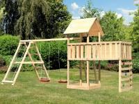 Akubi Spielturm Lotti Satteldach + Doppelschaukelanbau Klettergerüst + Anbauplattform XL + Kletterwand