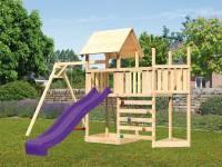 Akubi Spielturm Lotti Satteldach + Schiffsanbau oben + Anbauplattform + Einzelschaukel + Kletterwand + Rutsche in violett