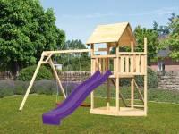 Akubi Spielturm Lotti Satteldach + Schiffsanbau oben + Doppelschaukel + Netzrampe + Rutsche in violett