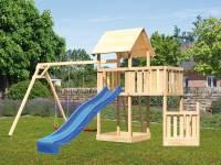 Akubi Spielturm Lotti + Schiffsanbau unten + Anbauplattform + Doppelschaukel + Rutsche blau