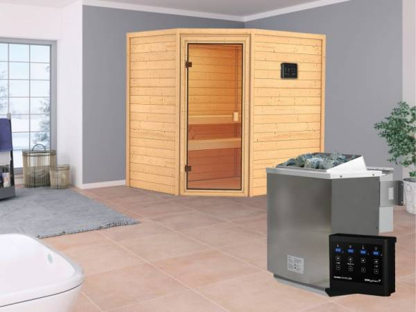 Karibu Aktionssauna Alva mit 4,5 kW BIO-Ofen ext. Strg. ohne Dachkranz