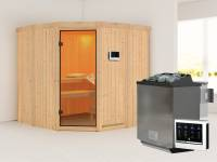 Simara 1 - Karibu Sauna inkl. 9-kW-Bioofen - ohne Fenster -