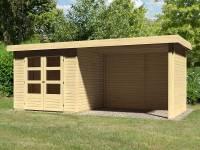 Karibu Woodfeeling Gartenhaus Askola 3 mit Anbaudach 2,75 Meter, Seiten- und Rückwand