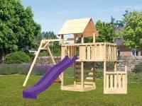 Akubi Spielturm Lotti + Schiffsanbau unten + Anbauplattform + Kletterwand + Einzelschaukel + Rutsche in violett