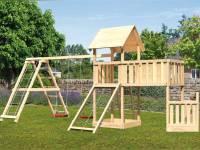 Akubi Spielturm Lotti + Schiffsanbau unten + Anbauplattform XL + Doppelschaukel mit Klettergerüst + Netzrampe