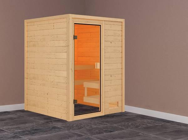 Karibu Woodfeeling Sauna Sandra ohne Dachkranz 38 mm