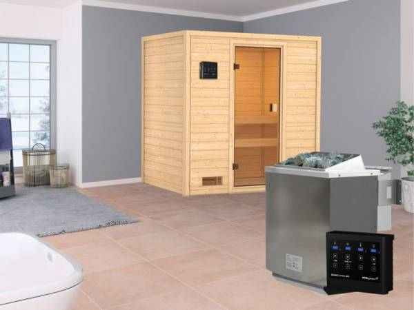 Karibu Aktionssauna Ivar mit 4,5 kW BIO-Ofen ext. Strg. ohne Dachkranz