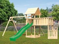 Akubi Spielturm Lotti + Schiffsanbau unten + Anbauplattform XL + Netzrampe + Doppelschaukel + Rutsche grün