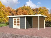 Karibu Aktions Gartenhaus Emden 7 in terragrau mit Fußboden und Anbaudach 2,6 Meter inkl. Rückwand