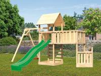 Akubi Spielturm Lotti + Schiffsanbau unten + Anbauplattform XL + Kletterwand + Einzelschaukel + Rutsche grün