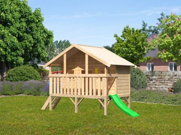 Akubi Spielhaus Maxi Sparset mit grüner Rutsche