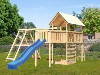 Akubi Spielturm Danny Satteldach + Rutsche blau + Doppelschaukelanbau Klettergerüst + Anbauplattform XL + Kletterwand