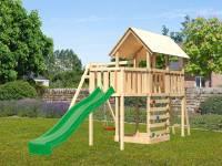 Akubi Spielturm Danny Satteldach + Rutsche grün + Einzelschaukel + Anbauplattform + Kletterwand