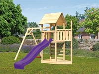 Akubi Spielturm Lotti Satteldach + Schiffsanbau oben + Einzelschaukel + Kletterwand + Rutsche in violett