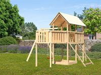 Akubi Spielturm Danny Satteldach + Einzelschaukel + Anbauplattform XL + Netzrampe