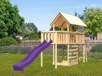 Akubi Spielturm Danny Satteldach + Rutsche violett + Anbauplattform + Kletterwand