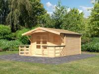Karibu Woodfeeling Gartenhaus Blockholm 3 mit Vordach und Terrasse