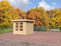 Karibu Aktion-Gartenhaus Jever 2 natur 19 mm mit Fußboden und Dacheindeckung