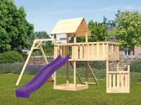 Akubi Spielturm Lotti + Schiffsanbau unten + Anbauplattform XL + Netzrampe + Einzelschaukel + Rutsche violett