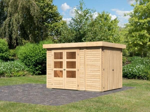 Karibu Woodfeeling Gartenhaus Retola 2 inkl. Anbauschrank