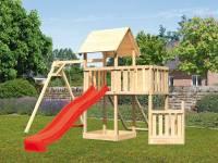 Akubi Spielturm Lotti + Schiffsanbau unten + Anbauplattform + Netzrampe + Einzelschaukel + Rutsche in rot