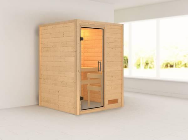 Nadja - Karibu Sauna Plug & Play ohne Ofen - ohne Dachkranz - Klarglas Ganzglastür
