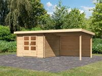 Karibu Woodfeeling Gartenhaus Bastrup 8 mit Anbaudach 3 Meter inkl. Rückwand