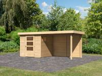 Karibu Woodfeeling Gartenhaus Oburg 2 natur mit Anbaudach 2,8 Meter inkl. Rückwand