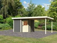Karibu Woodfeeling Gartenhaus Neuruppin 2 terragrau mit Anbaudach 3,2 m