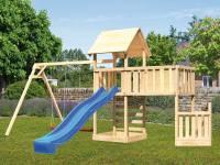 Akubi Spielturm Lotti + Schiffsanbau unten + Anbauplattform XL + Kletterwand + Doppelschaukel + Rutsche blau