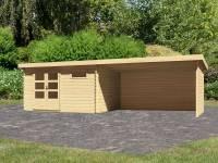 Karibu Woodfeeling Gartenhaus Bastrup 8 mit Anbaudach 4 Meter inkl. Rück- und Seitenwand