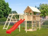 Akubi Spielturm Danny Satteldach + Rutsche rot + Doppelschaukelanbau Klettergerüst + Anbauplattform + Kletterwand