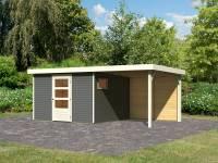 Karibu Woodfeeling Gartenhaus Oburg 6 terragrau mit Anbaudach 2,4 Meter inkl. Rückwand
