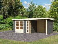 Karibu Woodfeeling Gartenhaus Kerko 5 terragrau mit Anbaudach 2,80 m inkl. Seiten- und Rückwand
