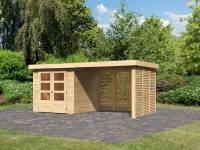 Karibu Woodfeeling Gartenhaus Askola 2 mit Anbaudach 2,8 m und Seiten- und Rückwand in Lamellenoptik