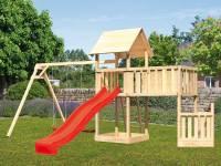 Akubi Spielturm Lotti + Schiffsanbau unten + Anbauplattform XL + Doppelschaukel + Rutsche rot