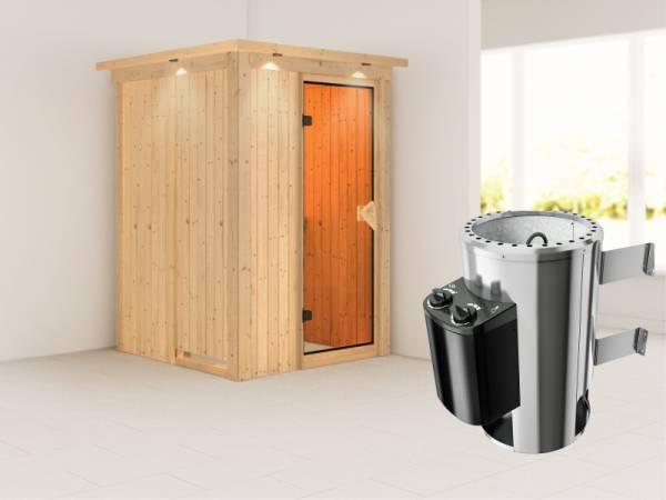 Lenja - Karibu Sauna Plug & Play inkl. 3,6 kW-Ofen - mit Dachkranz -