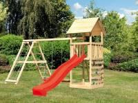 Akubi Spielturm Lotti- Doppelschaukel mit Klettergerüst, Kletterwand und Rutsche in rot