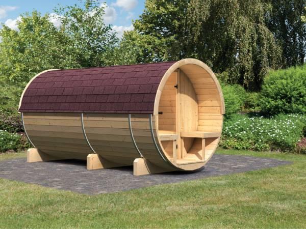 Karibu Fass - Sauna 4 42 mm ohne Ofen - Sparset - inkl. Dachschindeln