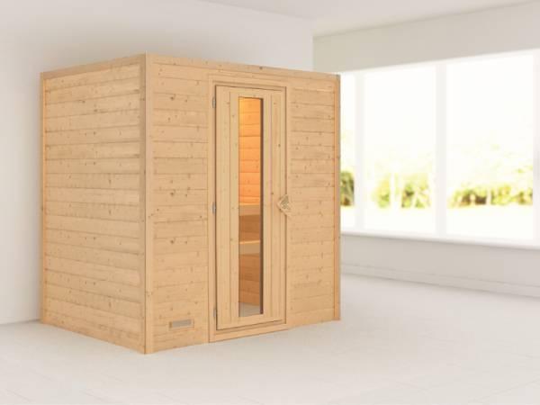 Ronja - Karibu Sauna Plug & Play ohne Ofen - ohne Dachkranz - Energiespartür